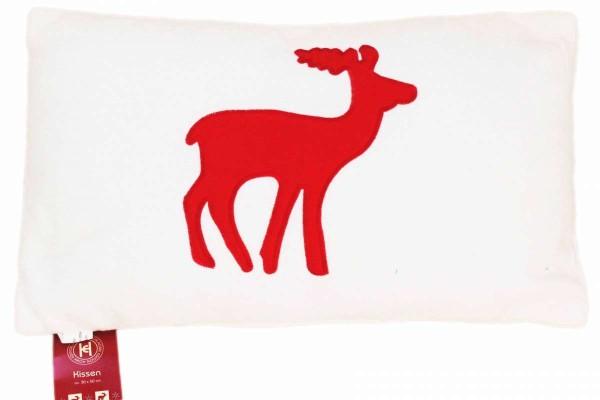 Fleece-Kissen 30x50 cm Kuschelkissen mit Rentier Sofakissen Weihnachten