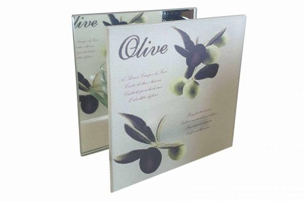 Glas-Teelichthalter mediteran Glas Olive für 1 Teelicht 12x12x6 cm Villa Verde 41671