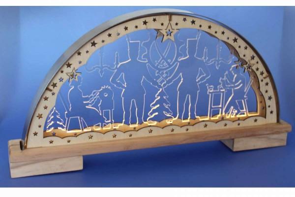 "LED-Lichterbogen ""Bergleute"" Acryl, Holz, Edelstahl Schwibbogen 50x6x25 cm Erzgebirge HGD CW25-9596"