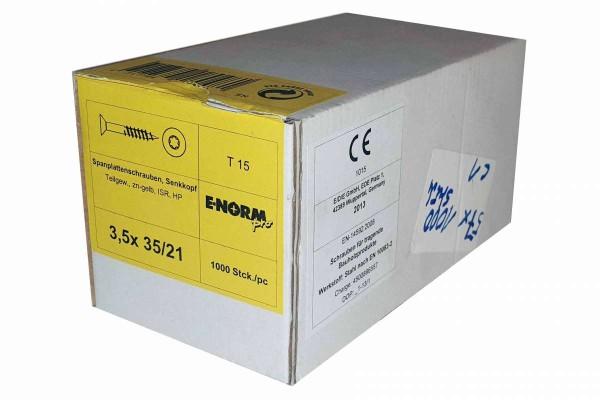 1000 Stück Spanplattenschrauben Senkkopf T 15 3,5 x 35/21 E-NORM pro Schrauben für tragende Bauholzp