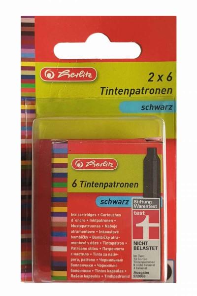 Tintenpatronen schwarz 12 Stück Standard-Füllhalter außer Lamy HERLITZ 8622011