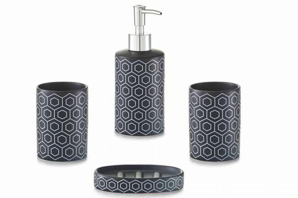 modernes 4tlg. Bad-Accessoires-Set Keramik schwarz Badezimmer-Set ...