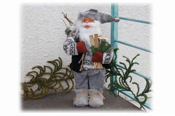 Santa Claus 40 cm Weihnachtsmann Schaufenster Fenster Deko hochwertig #6 grau mit Ski