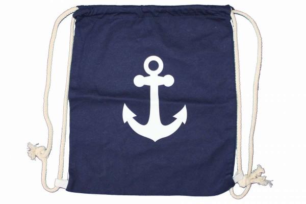 Gymbag Maritim rot/blau/grau mit Anker-Print Tunbeutel Gym Bag Beuteltasche