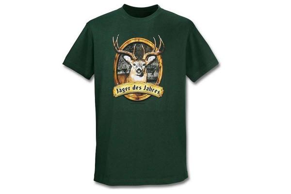 """Herren T-Shirt mit Spruch """"Jäger des Jahres"""" Baumwolle grün Gr. 56-58 Größe XL"""