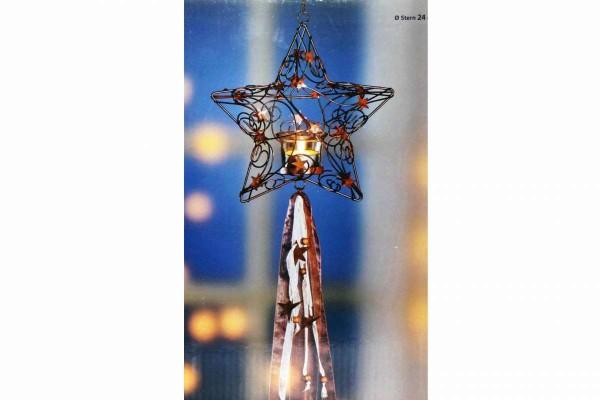 Teelichthalter Stern Ø 24 cm Länge 80 cm Metall mit Anik-Finish WELTBILD 5359815
