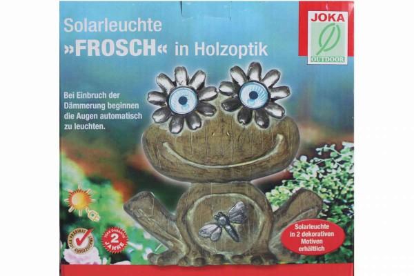 Solar-Leuchte Frosch in Holzoptik LED Solarleuchte Deko Garten 18x8x17,5cm