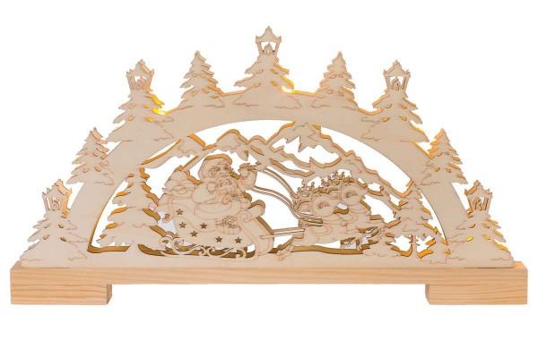 """LED-Lichterbogen """"Santa im Schlitten"""" Schwibbogen 45x25 cm Holz HGD CLB07-513"""