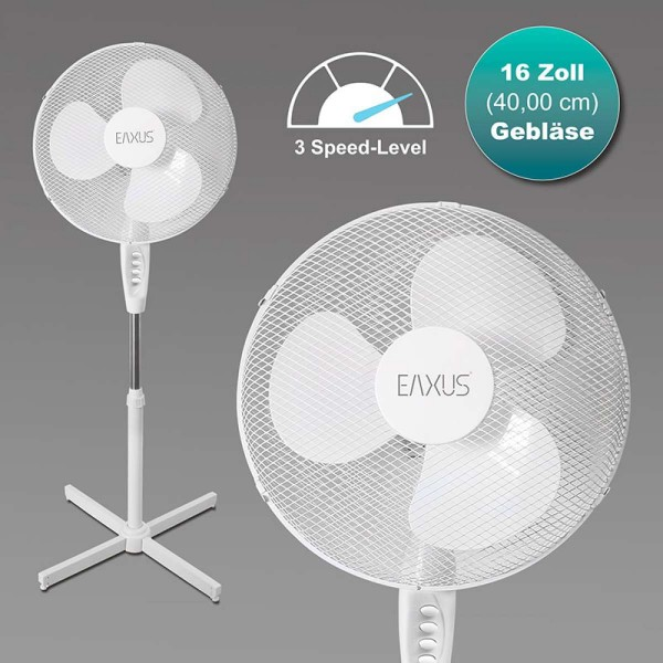 Standventilator 40W 3-stufiges Gebläse Oszillationsfunktion Ø 40cm EAXUS