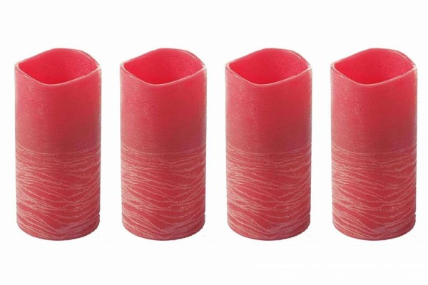 4 x LED-Echtwachs-Kerze Rosso 20 cm Flammen-Effek mit 4/8 Stunden-Timer Ø 10 cm klein