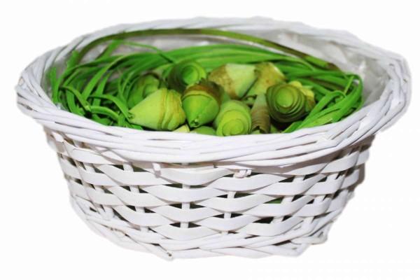 3tlg. Osternest bestehend aus Korb Ø 24 cm und Deko Ostern 3 Teile weiß/grün