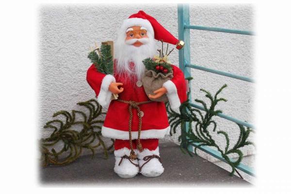 Santa Claus 40 cm Weihnachtsmann Schaufenster Fenster Deko hochwertig #4 rot mit weiß