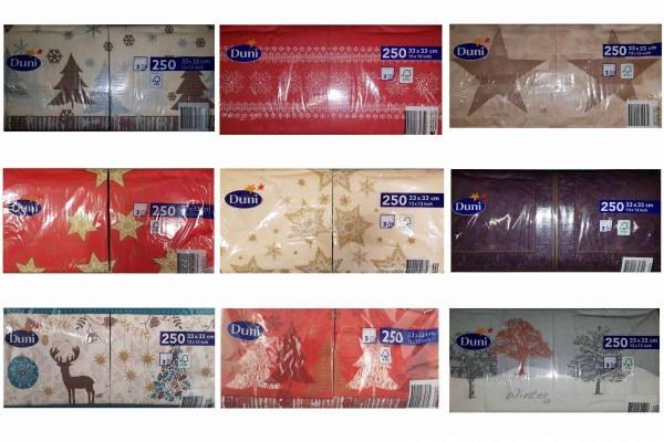250 Servietten 33x33 hochwertig 3lagig Gastro Weihnachten Papierservietten DUNI
