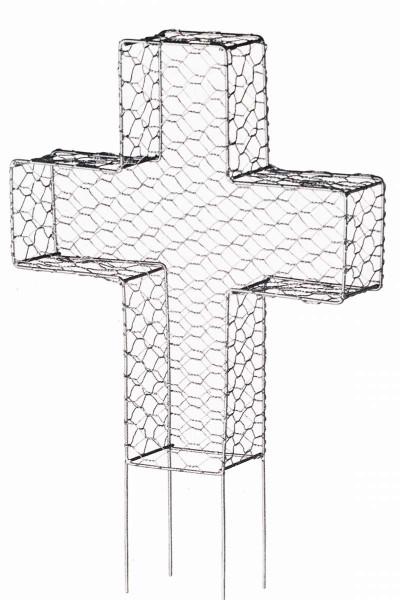 Buchsbaumformer Kreuz 27 cm 3D-Schablone Metall für Formschnitt WELTBILD 5259659