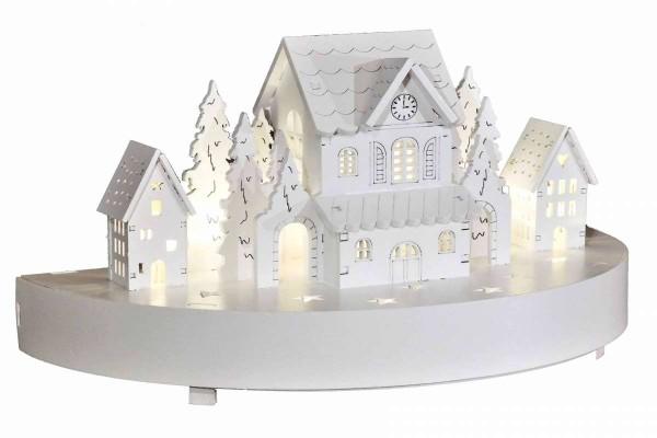 """LED-Diorama Lichterbogen """"Winterdorf"""" Schwibbogen 25x12,5x14,5 cm Holz weiss Erzgebirge HGD CW45-953"""