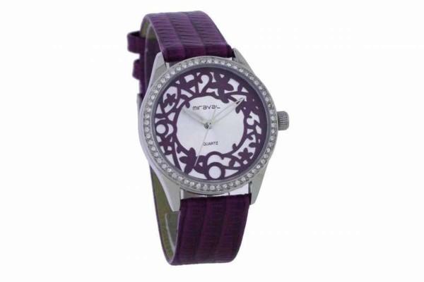 Swarowski Damen Armbanduhr Lederarmband lila MIRAVAL 2-NO713-4 B-Ware