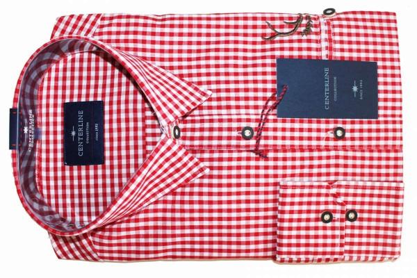 Herren-Trachten-Hemd Langarm Trachtenhemd rot/blau kariert Gr. M,L,XL,XXL mit Stickereien