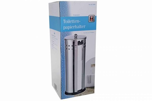 Toilettenpapierhalter Papierrollenhalter mit Deckel 14,5x36,5 cm Edelstahl matt für 3 Rollen Toilett