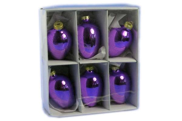 Glas-Ostereier 6er Pack Deko für Ostern Metallic-Eier Glaseier 7 cm LILA