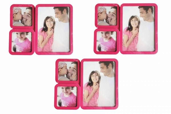 3 x Bilderrahmen 23x19 cm pink Galerierahmen für je 3 Fotos Fotogalerie 13x18 cm