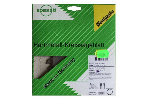 Hartmetall-Kreissägeblatt Wenigzahn Typ 150 Profi-HW (HM) 150x160x30 EDESSÖ
