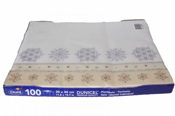 100 Platzmatten 30x40 Dunicel Weihnachten Platzset DUNI Motiv: Crystal White