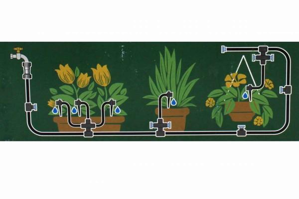 ELGO AMPS Bausatz mit Bewässerungsschaltuhr für 15 Pflanzen Ready 2 Drip Veranden