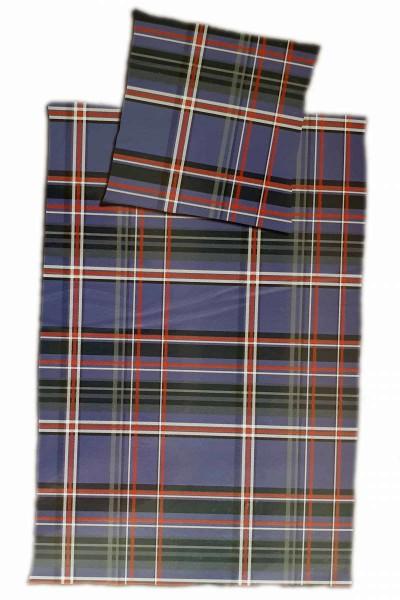 Bettwäsche 2tlg. Flannel Karo blau/rot Flanell Reißverschluss 80x80+155x220 Sondergröße