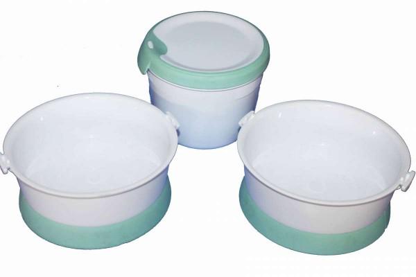 3tlg. Futternapf-Set Futter- und Wasser-Schalen plus Frischhaltedose 3 Teile
