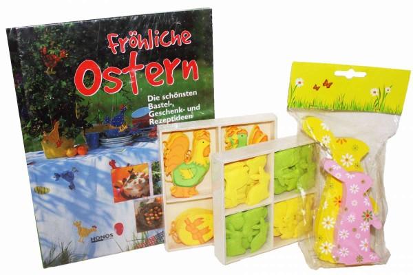 4tlg. Osterset Buch, Hänger für Osterstrauß, Streugut als Tisch-Deko Ostern 4 Teile