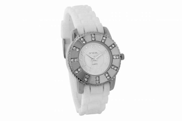 Swarowski Damen Armbanduhr Silikonarmband weiss MIRAVAL 2-NO713-2 B-Ware