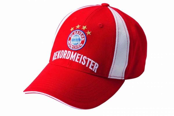 Basecap Baseballcap rot Recordmeister Logo und Schriftzug FC Bayern München