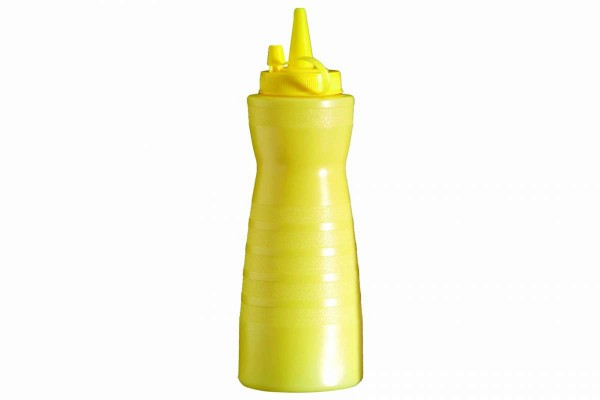 Quetschflasche gelb für Senf 700 ml Ø 8 cm Höhe 24,5 cm 0,7 l APS 93243