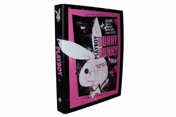 "PLAYBOY schmaler Ordner A4 Bunny ""After Party"" schwarz-pink 4 cm Ringordner"