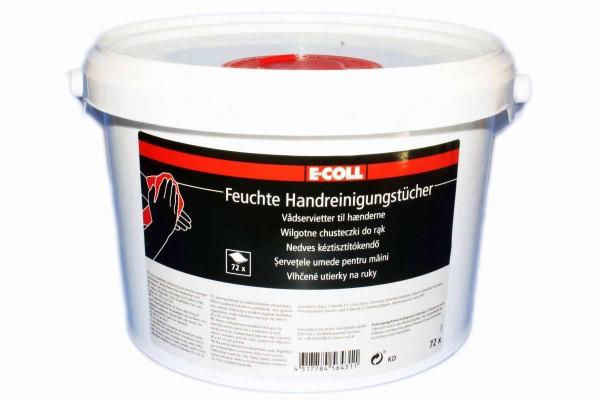 E-COLL Handreinigungstücher 30x30cm feuchte Reinigungstücher 72 Stück im Eimer EDE MHD 05/2021