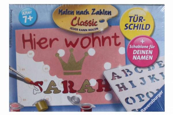 """Türschild """"Malen nach Zahlen"""" Monster, Prinzessin, Pferd, Ballerina RAVENSBURGER"""
