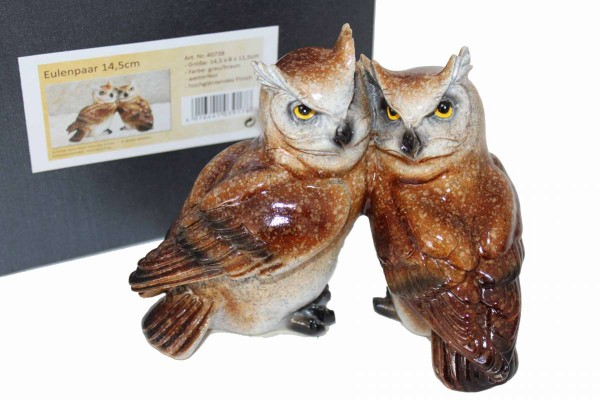 Eulenpaar 14,5 cm Eulen wetterfest hochglänzend Collection Arturio Rossi 40738