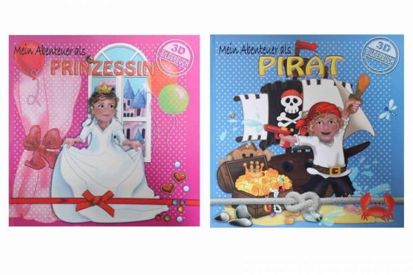 2 x 3D-Bilderbuch Mein Abenteuer als Pirat/Prinzessin Aufklappbuch Buch Brante/Puntmann