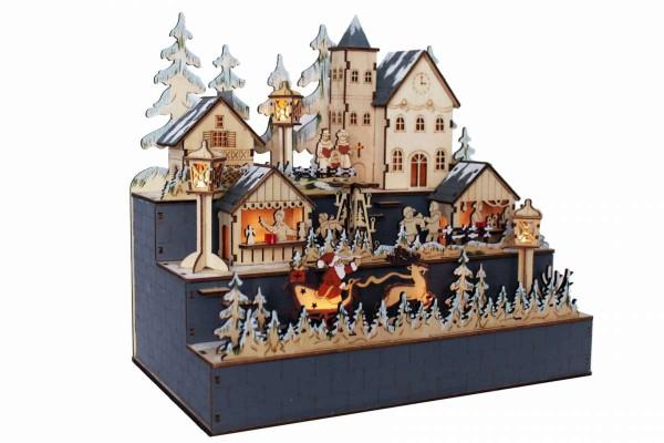 Weihnachtsstadt Holz LED-Beleuchtung 30x18,5x28cm Erzgebirge HGD CLH25-8669