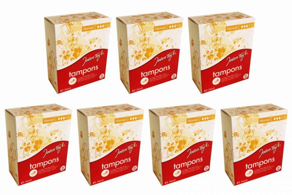 "7 x Tampons normal Butterfly 80er Packung Vliesumhüllung 7x80 Stück ""Jeden Tag"""