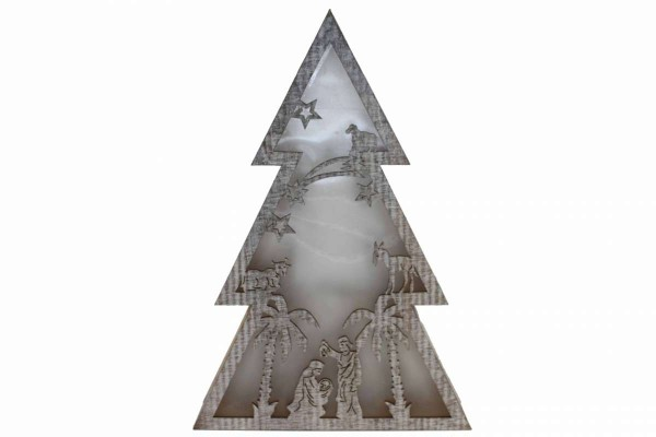 Fensterdeko Baum Hologramm Holz LED-Beleuchtung 40 cm batteriebetrieben Schulte