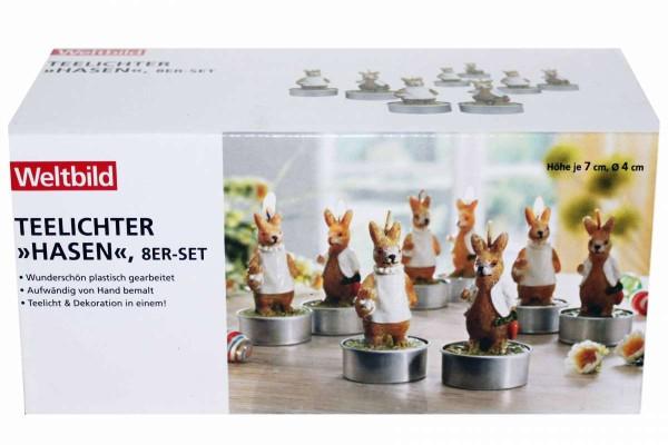 Teelichter Hasen 8er Set Ostern Teelichte 7 cm Nostalgie WELTBILD 5570189