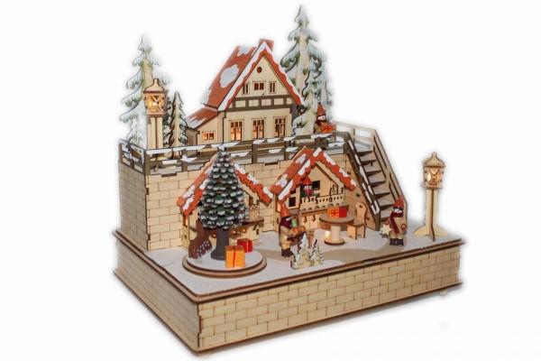 Weihnachtsstadt mit Spieluhr LED-Beleuchtung 30x21x29,5cm Erzgebirge HGD CLH25-8659