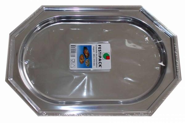 Servierplatte 5er Pack silber 46 x 31 cm Partyplatte FESTIPACK VSX24-S