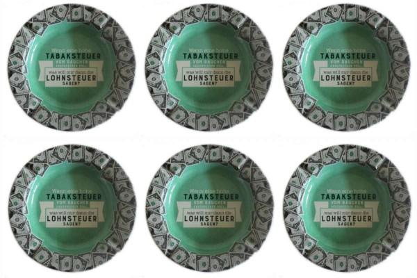 6 x Aschenbecher Tabaksteuer-Lohnsteuer Blech Ø 14x1,5 cm Sheepworld GRUSS & CO 46159