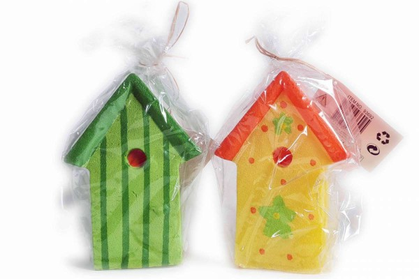 2 x Kerze Vogelhaus Höhe 13,5 cm 1x gelb/1x grün Garten Vogehäuschen Geschenk