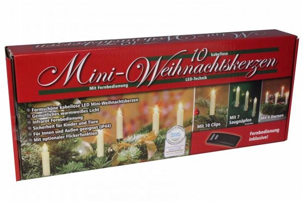 LED Mini-Weihnachtskerzen 10 Stück innen und außen Lichterkette kabellos warmweiß