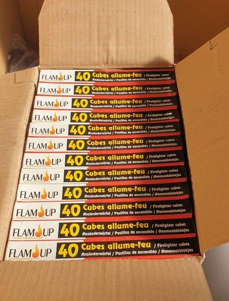 24 x 40er Anzünderwürfel 40er Anzünder für Kamin Ofen Grill Anzündwürfel FLAMUP