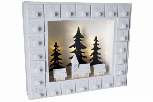 Adventskalender Weihnachtsstadt LED-Beleuchtung 35x27x7 cm weiss Erzgebirge HGD CW45-1567