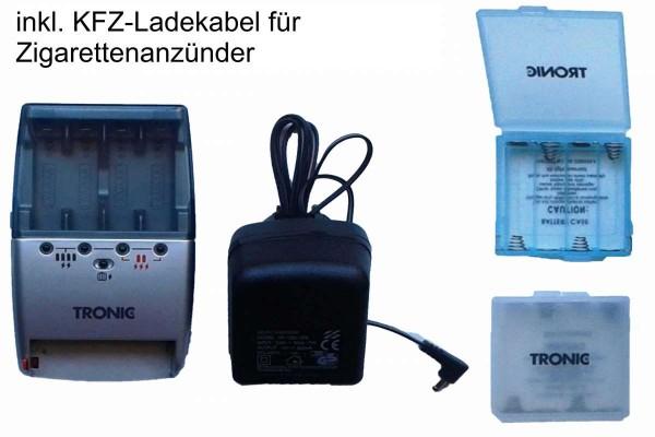 Tronic Ladegerät Akkuladegerät Schnellladegerät mit Kfz-Ladekabel AA/AAA KH 970